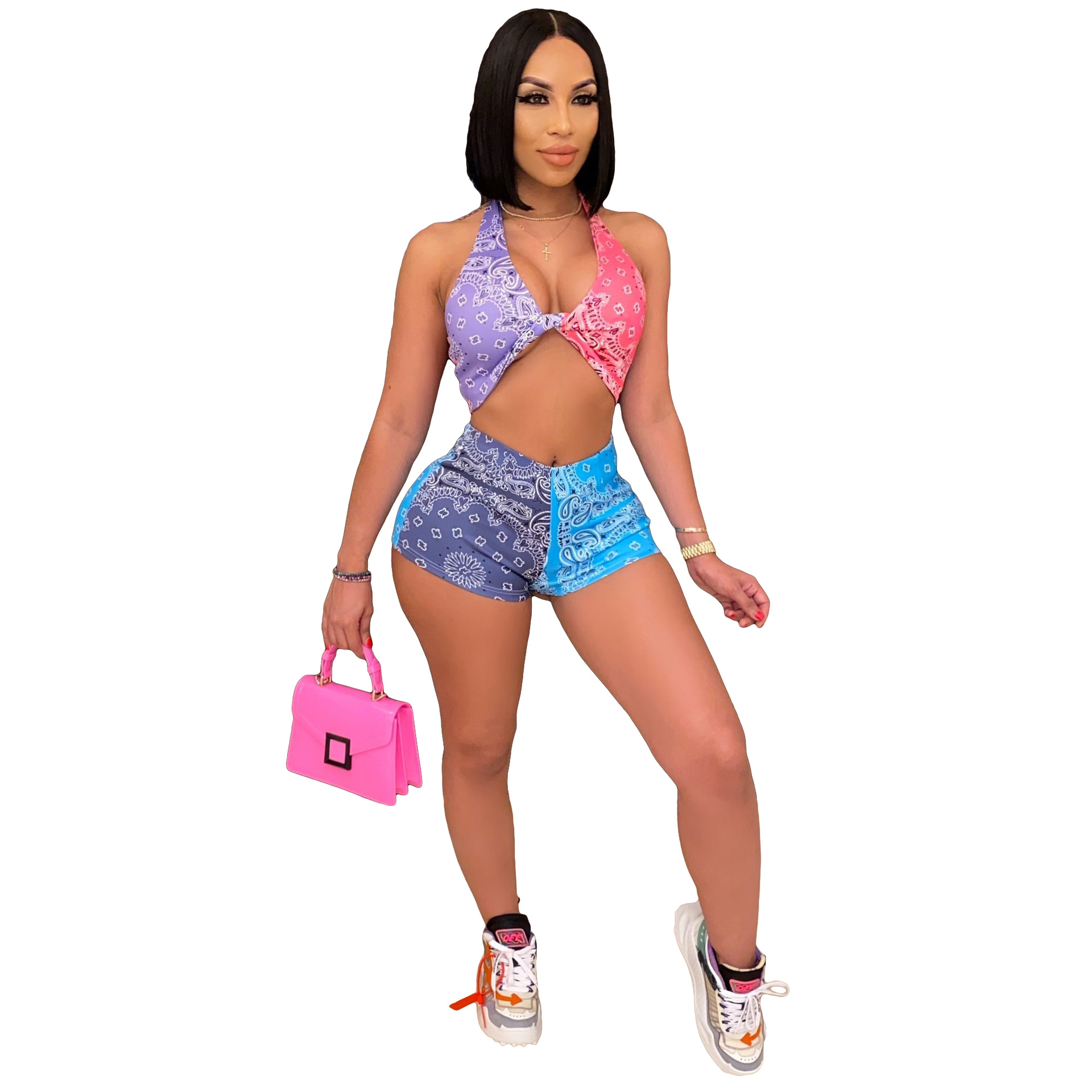 two piece set women clothing 2021 sexy multi - color printing sexy two piece sets women