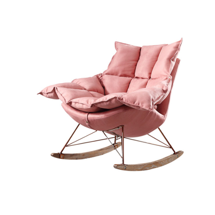Nordic simple and modern cloth art rocking  sofa  single person  balcony leisure adult creative lounge chair