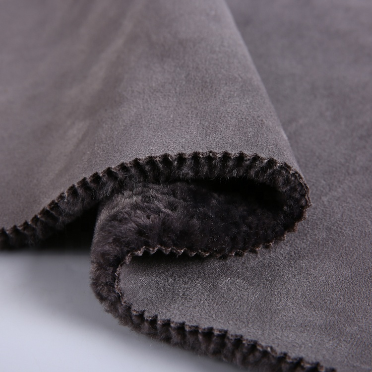 warm winter wear knitted polyester stitch bonded micro suede fabric with fur
