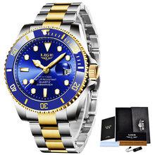 LIGE мужские часы Топ бренд класса люкс модные бизнес часы мужские из нержавеющей стали водонепроницаемые наручные часы Relogio Masculino + коробка(China)