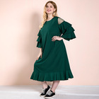 Spring and summer wholesale women's dress large solid ruffle long sleeve hot midi dresses plus size