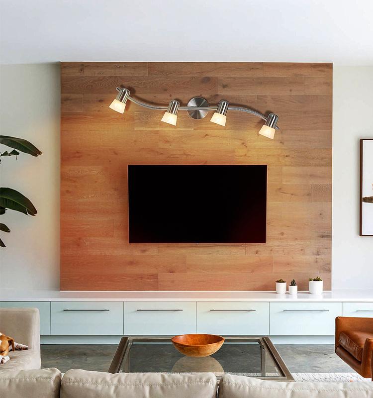 Adjustable Transitional Wave Track Light Bar, Indoor Brushed Nickel 4 Light Track Light for Kitchen Dining Room