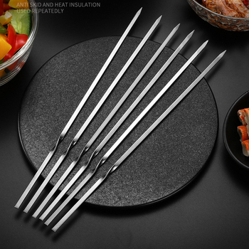 Kabob Skewers Flat Metal BBQ Barbecue Skewer Stainless Steel Shish Reusable Grilling Skewers Set for Meat Shrimp Chicken Vegetab