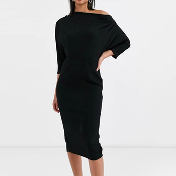 Women high quality summer asymmetric neck hot midi pencil off shoulder black cocktail dresses