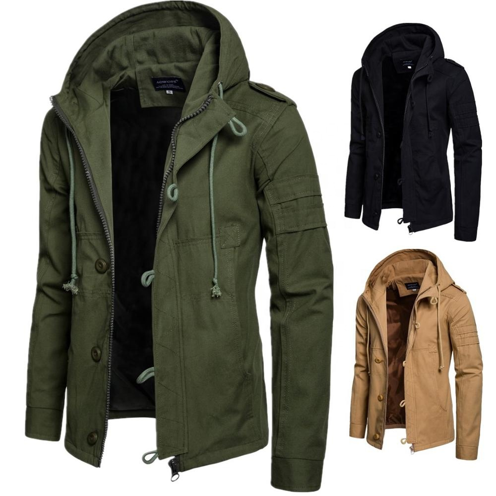 2020 Fashion Trend Autumn Winter Mens Cotton Button Buckle Warm Overcoat Zipper Casual Jacket With Hood