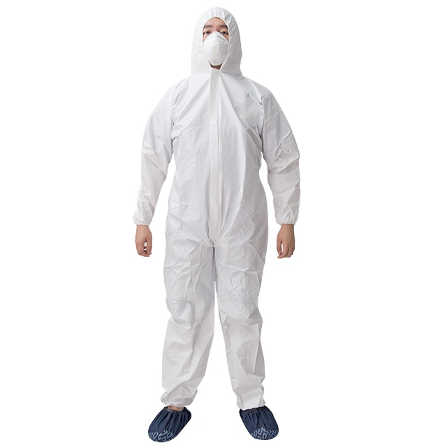 safety white protective ppe polypropylene coverall disposable with tape