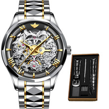 Роскошные мужские механические наручные часы автоматические часы мужские скелетоны OUPINKE вольфрамовые стальные сапфировые часы relogio masculino ...(Китай)
