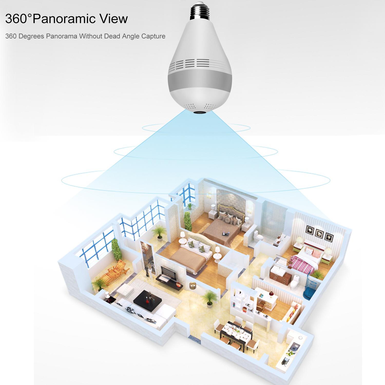 Лучшая цена 1080P 3MP скрытая беспроводная панорамная камера рыбий глаз 360 лампочка для камеры видеонаблюдения