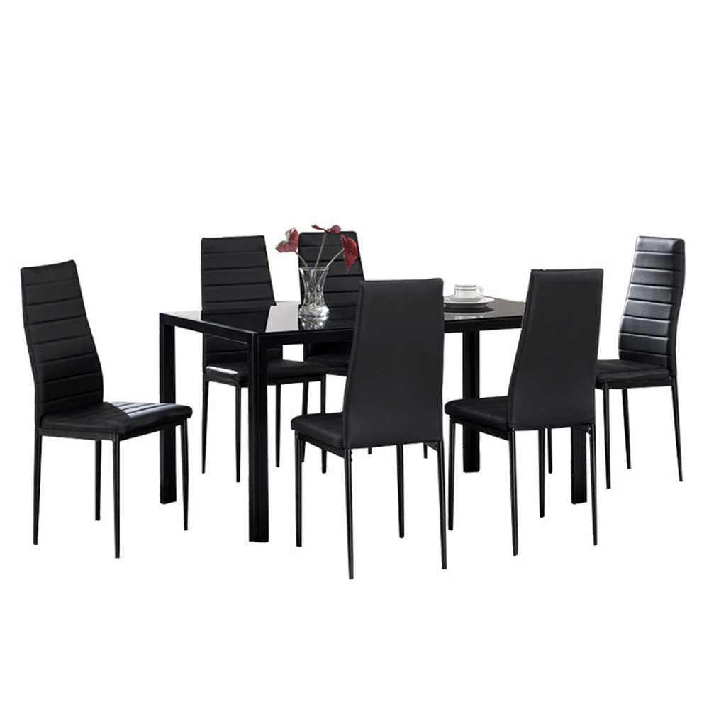 hot sale 6 seats new dining room furniture modern simple dining table set group glass dining table sets