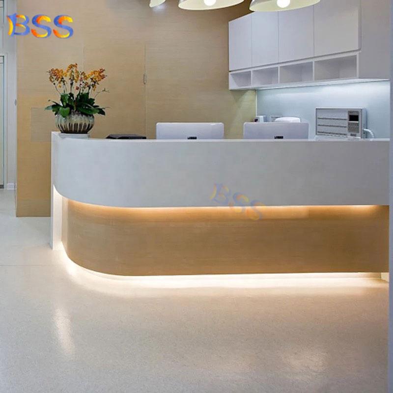 Современный Мраморный деревянный изогнутый L-образный медицинский офисный прием