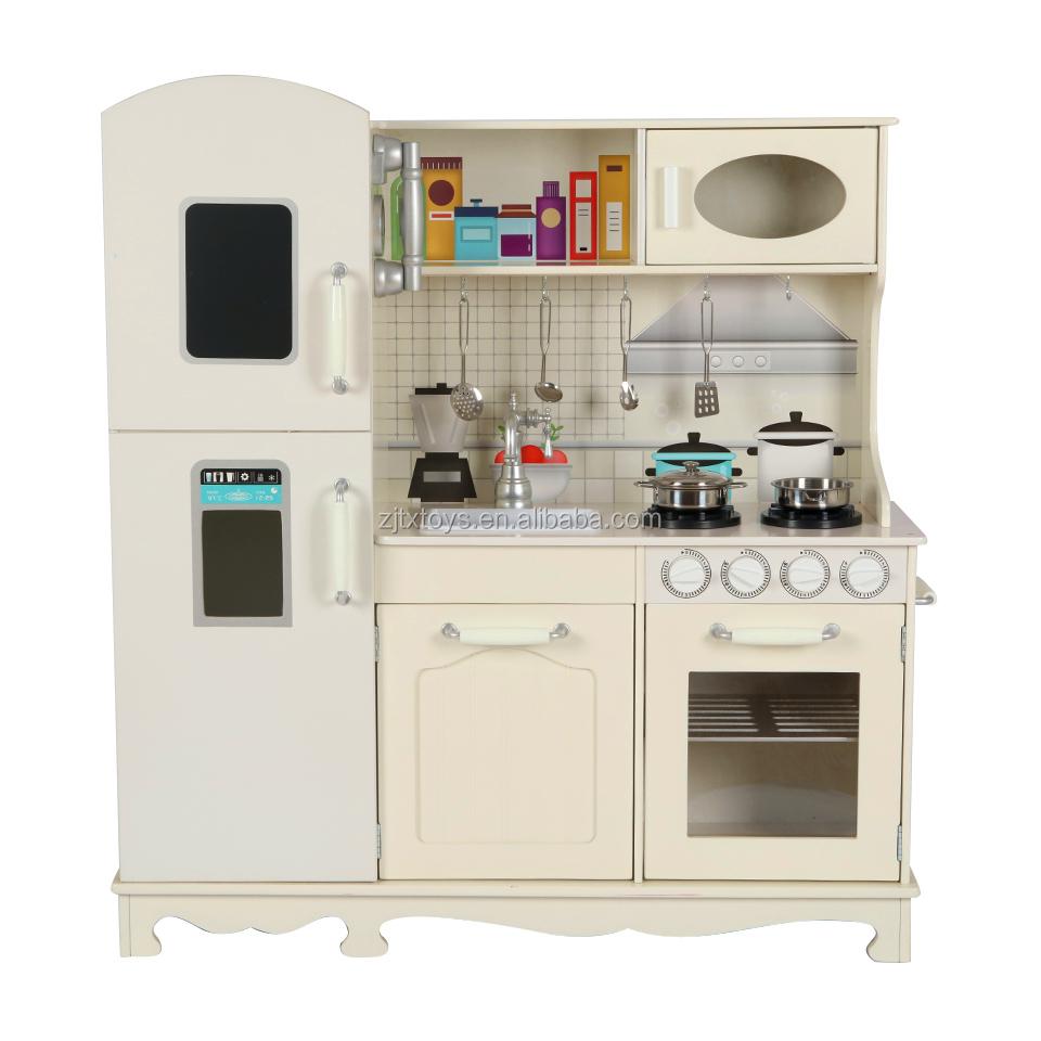 Wholesale Manufacturer Children Kids Cooking Pretend Play Very Big Wooden Kitchen Toys Set