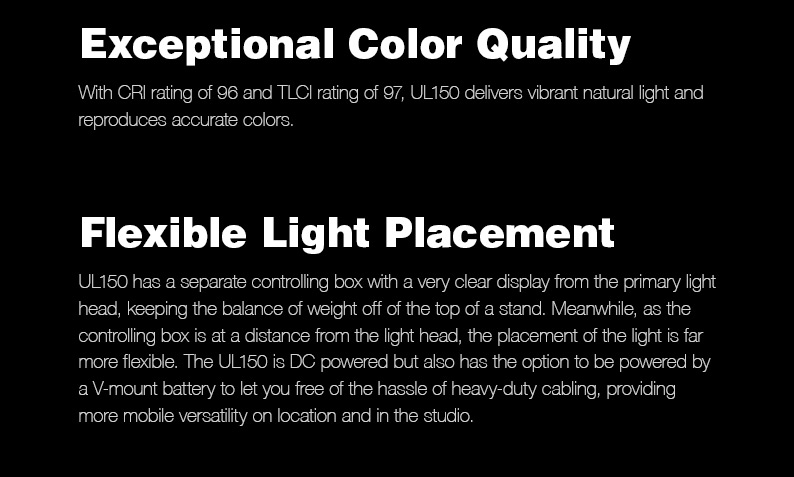 Godox UL150 UL-150 150W 5600K Color Temperature Silent Bowens Mount LED Video Light Remote Control and App Support
