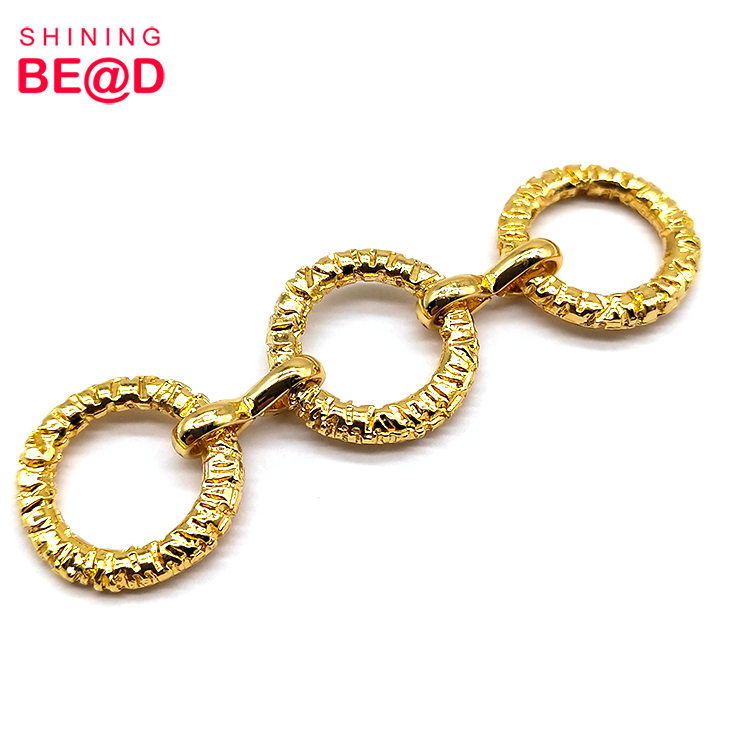 High Quality Gold-plated Three-ring Shaped Metal Connector Buckle For Bikini Decoration,Large Metal Buckle