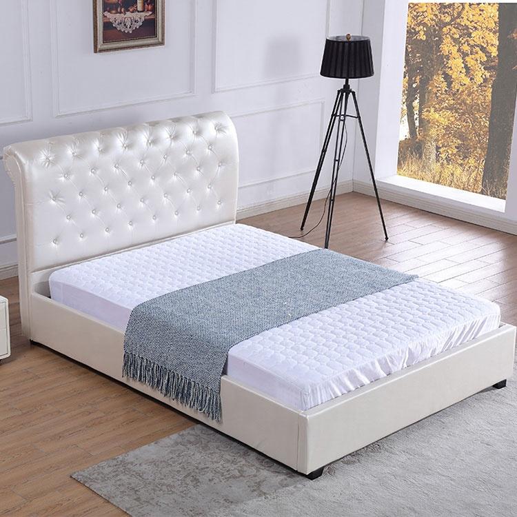 Sleek minimalist new king size storage single double head frame beige white PU bed