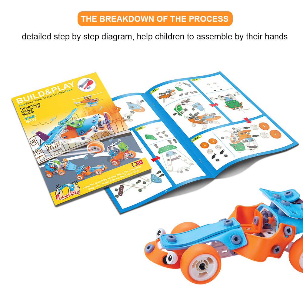 5 In 1 Self Assemble Puzzle Aircraft Flexible Construction Toy Set Educational DIY Play Plastic Building Block Toy For Kid