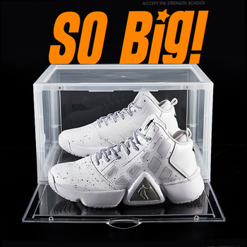 Custom Stackable Display Giant Clear Transparent Drop Front Acrylic Basketball Plastic Storage Shoe Sneaker Box With Magnet