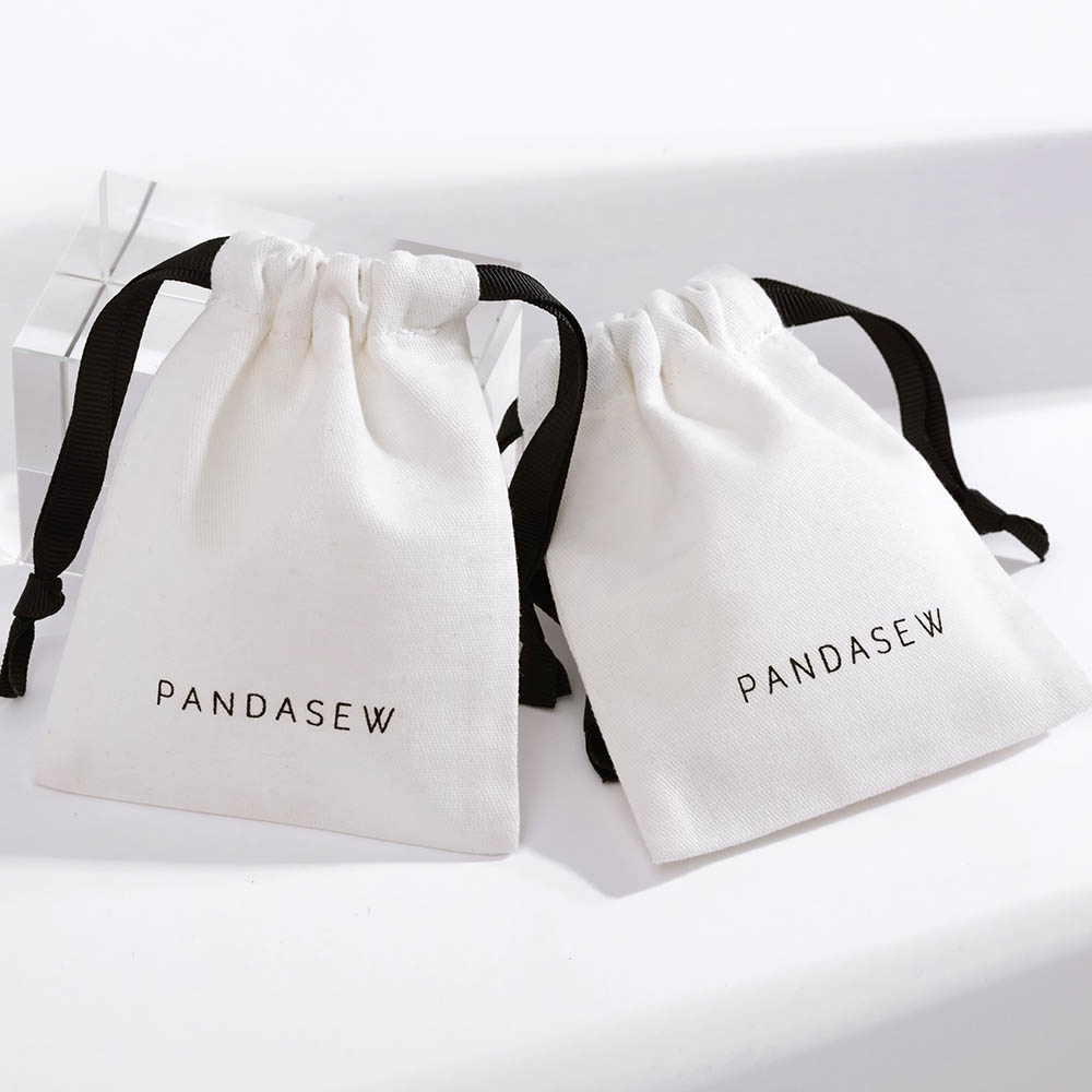 100 Designer Cotton Drawstring Pouches Jewelry Packaging Bags Wedding Favor Bags Small Gift Bags Personalised Pouch