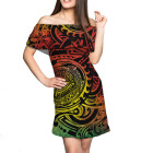 Dress Women For Female Party Dress Polynesian Tribal Print Breathable 7xl Oversize Women Party Off Shoulder Dress For Summer