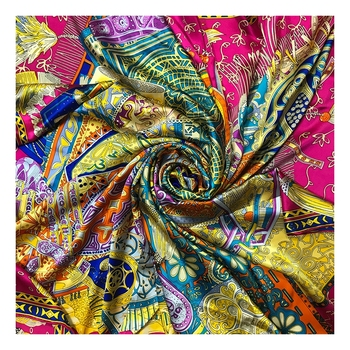 OEM custom print fashion lady twill 90cm square 100% pure silk scarves