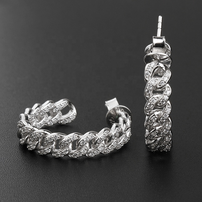 Exaggerated personality jewelry hollow 925 Sterling Silver hip hop diamond Cuban link chain hoop earrings