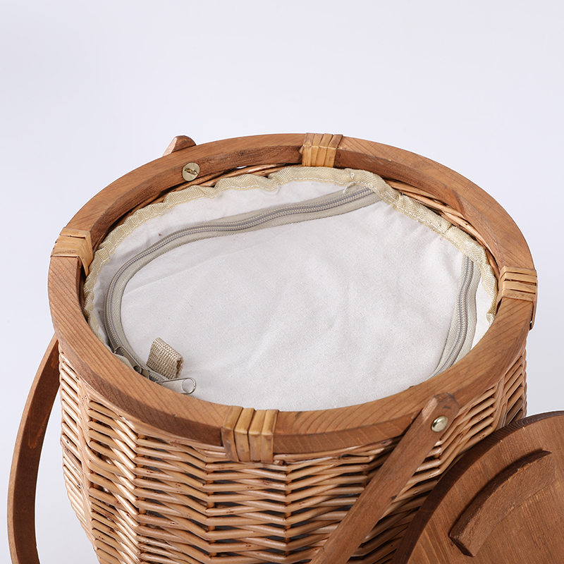 The most popular wicker picnic basket with handle and wooden lid