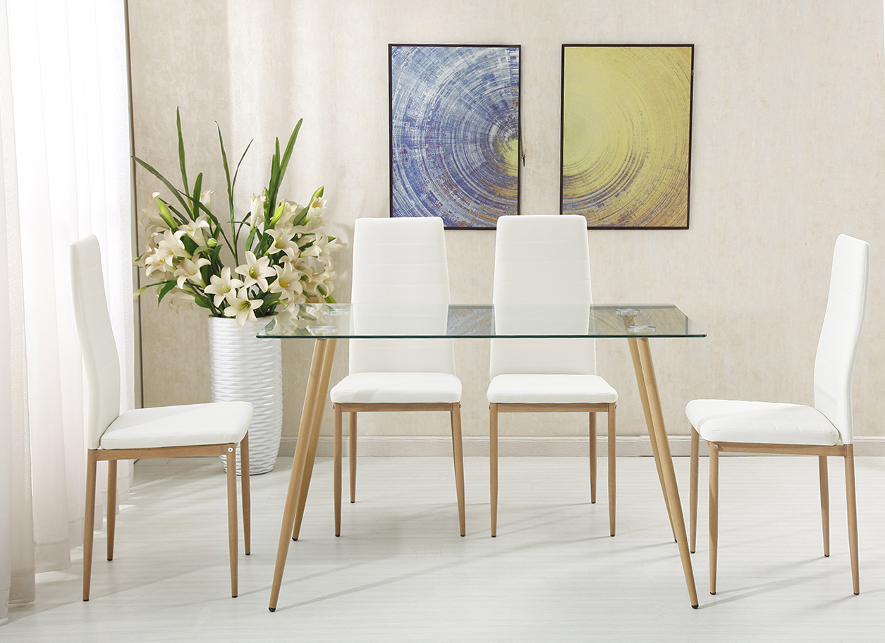 Free Sample Cheap Classic 4 Seater Modern Fiber Glass Top Dining Table Set Dining Table and Chair