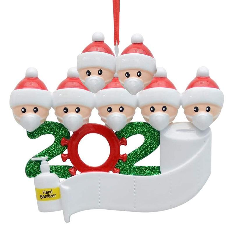 L0010 2020 Ensemble cadeau De Noël Décoration De Fête D'anniversaire Survivant Famille De 5 Avec Visage Main Ornement De Noël