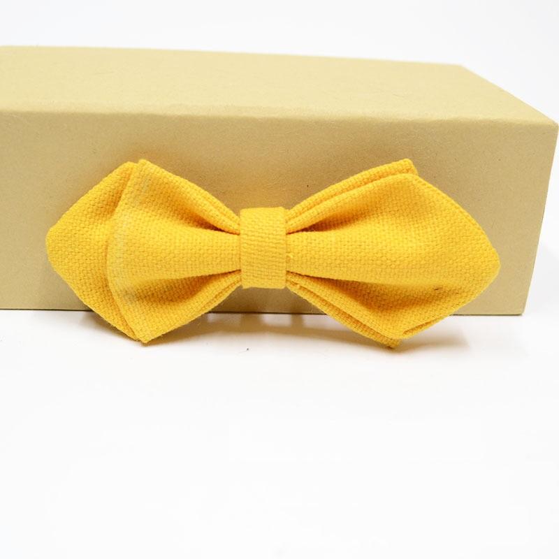 Детский новый модный однотонный/в горошек/клетку цветной холщовый галстук-бабочка с защитной булавкой
