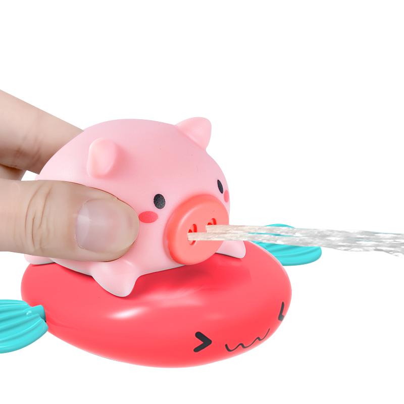 Летняя Детская игрушка в ванную, сжимаемая цепочка с распылителем воды, милая игрушка в виде свиньи для серфинга, водная игра, Плавающие Игрушки для ванны для младенцев, малышей