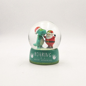 Personalized resin santa claus and dinosaur decor Christmas snow globe