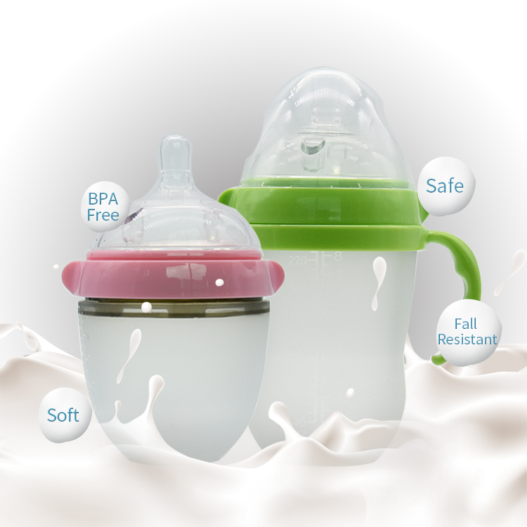 150ml BPA Free Infant Nursing Breast Milk Silicone Baby Bottle Anti Colic With Food Grade Nipple