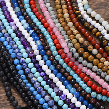 Matte Lava Tiger Eye Turquoises Black Onxy Loose Stone Beads for Bracelet Necklace Jewelry Making DIY Round Natural Stone Beads