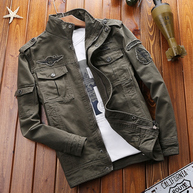 2020 Hot Mens Casual Winter Cotton Outdoor Full Zip Plus Size 6XL Military Jacket