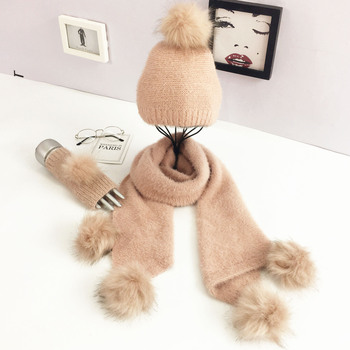 2019 Hottest design solid color lady scarf set faux raccoon fur pom pom beanie hats fingerless gloves 3 pcs for gift