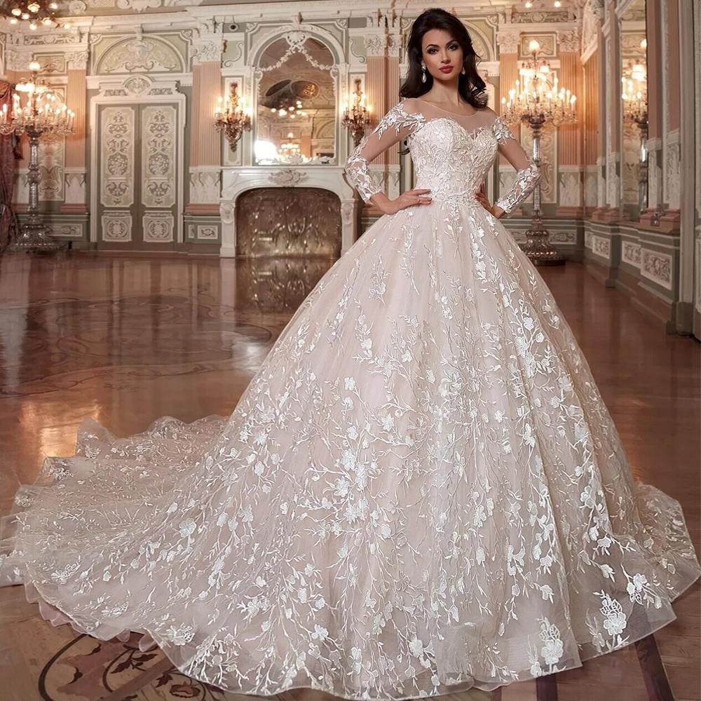 Princess Wedding Dresses Shiny Beading Crystal Waist Luxury Lace ...