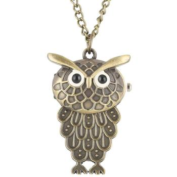 New Style Pocket Watch Vintage Owl Pendant Necklace Sweater Chain Jewelry Golden Antique Silver Bronze