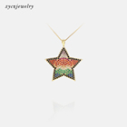 Luxury Micro CZ Paved Brazil Pendants Gold Plated Mix Zircon Jewelry Pendant Necklace