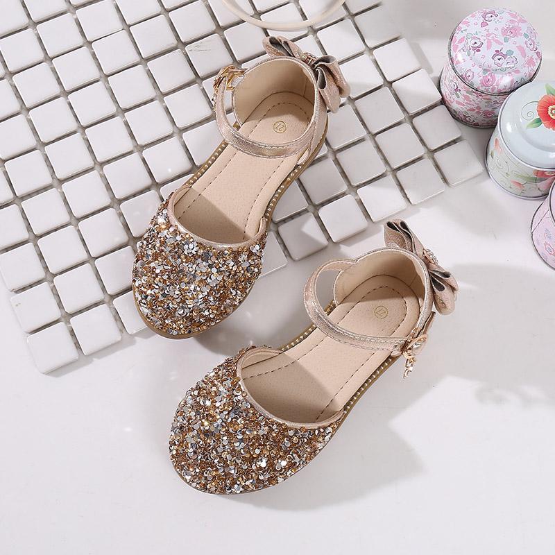 Демисезонные модные сандалии для девочек со сверкающими бриллиантами и кристаллами