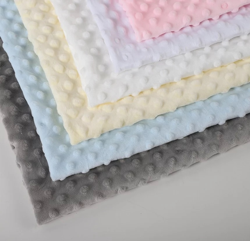 ShaoXing Plain Polyester Embossed Minky Dot Fabric Solid Cuddle Plush Fabric For Baby Blanket