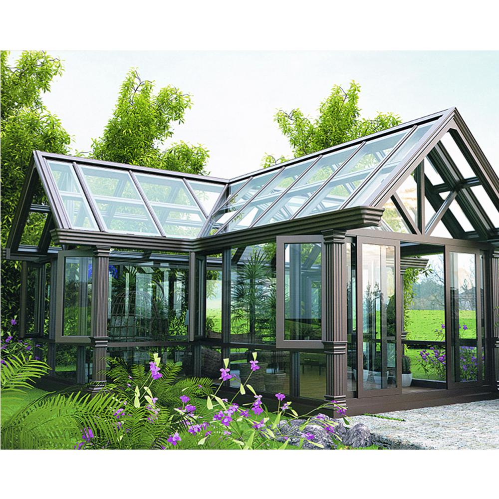 Современный дизайн Sunroom с закаленным стеклом треугольная крыша прочная алюминиевая рамка стеклянный дом для балкона патио