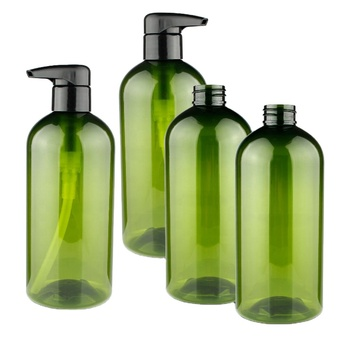 eco friendly pla cosmetic packaging wholesale pet plastic green lotion shampoo bottles 500ml