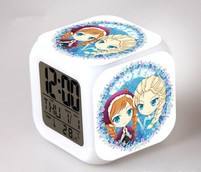 Индивидуальный дизайн светодиодный 7 цвет меняется цифровые часы-будильник термометр ночник дети cube настольные часы «Холодное сердце»-1 шт.