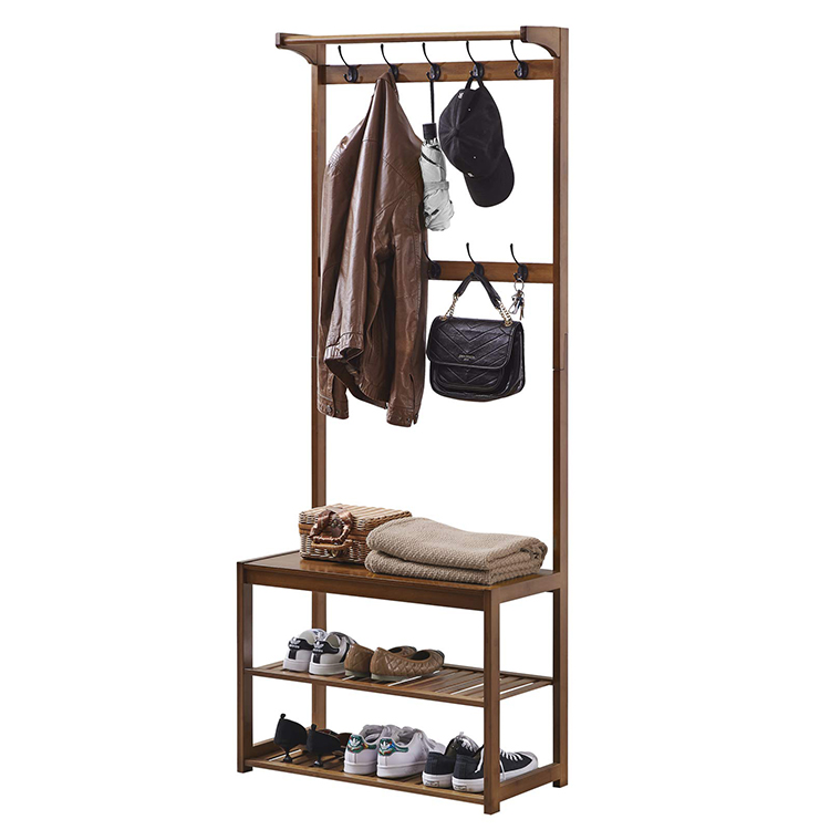 New Home Storage Organizer Amber Bamboo Hangers Shoe Storage And Seat Benches Are Integrated Coat Rack Hanger