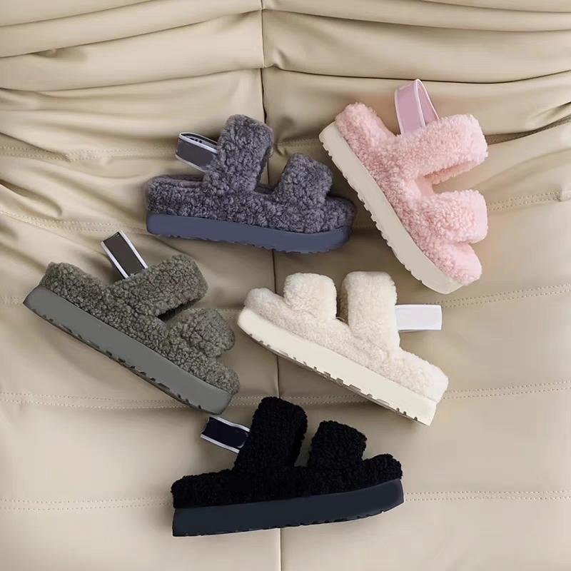 Wholesale women sheepskin fur lined slippers soft slides for women winter warm women sandals