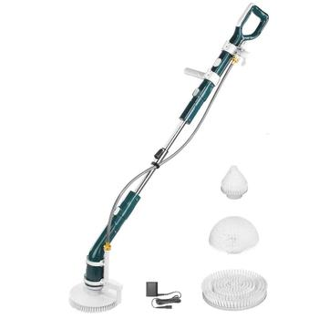 Electric cleaning brush with hose rotating brush incl extendable extension rod, for swimming pool, floor and tile cleaning