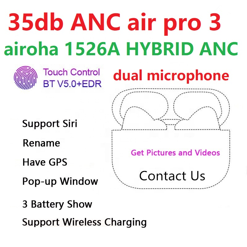 airoha1562A chip Dual mic hybrid Active noise cancel audifonos wireless ANC earphone air pro tws 3 pods charging case - idealBuds Earphone | idealBuds.net