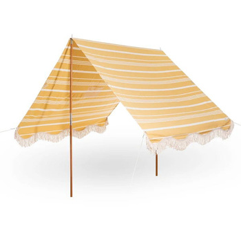 Portable Vintage Cotton Canvas, Wood Pole folding Pop Up UV50 Protection Premium Tassel Beach Tents Canopy Sun Shade Shelter/
