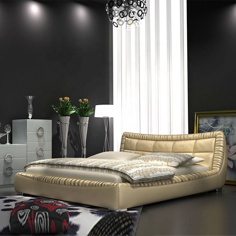 latest style golden italian leather bed modern king queen sizetop leather bed pu leather bedroom bed