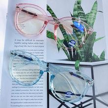 Очки с защитой от синего света, компьютерные очки для студентов, женские круглые очки в черной оправе, прозрачные плоские линзы, оправа для г...(Китай)