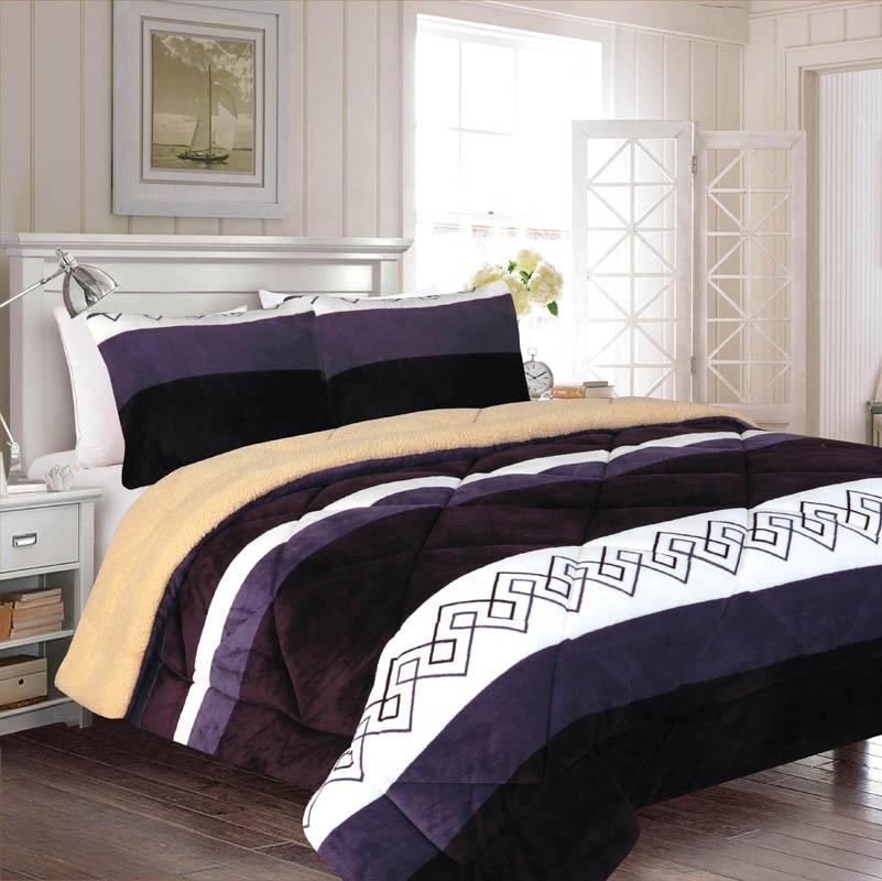 Wholesale Printed Flannel with Backside Solid Fluffy Sherpa  Bedding Comforter Set Wavy Striped Borrego Blanket for Bed